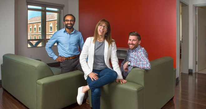 Neelesh Tiruviluamala, Laura Baker and John Pascarella, from left, will be living as faculty-in-residence at USC Village. (USC Photo/Gus Ruelas)