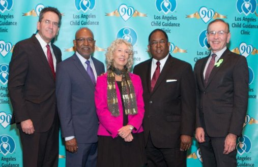 Left to Right: USC's Steven R. Lopez Ph.D., Clinic Board Chairperson Wayne Moore, Clinic President/CEO Betsy Pfromm, LA County Supervisor Mark Ridley-Thomas, and Dr. Marv Southard, Director LA County Dept. Mental Health. Photo Courtesy of Los Angeles Child Guidance Clinic.