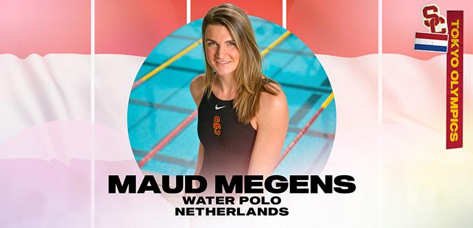 Mauda Miginsa stāv peldbaseina priekšā un no apļa smaida, uz kuras un uz Nīderlandes karoga fona ir uzrakstīts viņas vārds, sporta specialitāte un valsts.