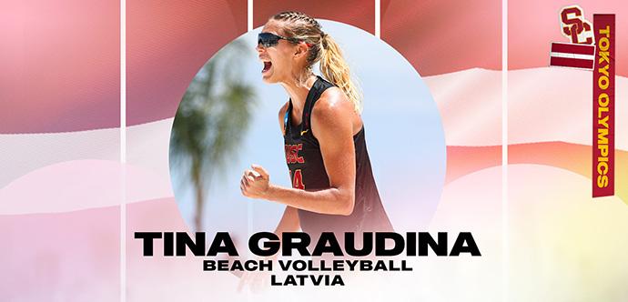 Tīna Graudiņa, nēsājot saulesbrilles un tvertnes augšdaļu, triumfējoši kliedz apļa iekšpusē, uz kuras un uz Latvijas karoga fona ir uzrakstīts vārds, sporta specialitāte un valsts.
